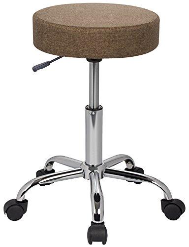 SixBros. Sitzhocker höhenverstellbar, Drehhocker mit Rollen, Hocker aus Stoff, verstellbar, braun M-95027-3/2344