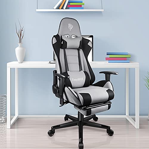 Breathable Fabric Gaming Chair with Headrest and Retractable Footrest E-Sports Gamer Office Desk Chair, 300Lbs Reclining Adjustable Swivel Waist Tilting Racing Style Armchair