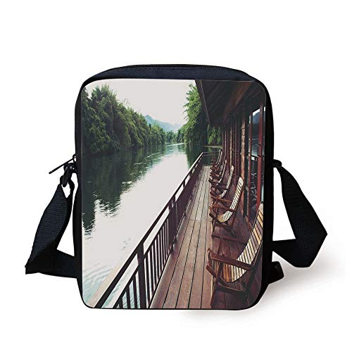 Asian,Wooden Chairs in Floating Hotel on The River Kawai in Thailand Idyllic Resort Travel,Brown Green Print Kids Crossbody Messenger Bag Purse