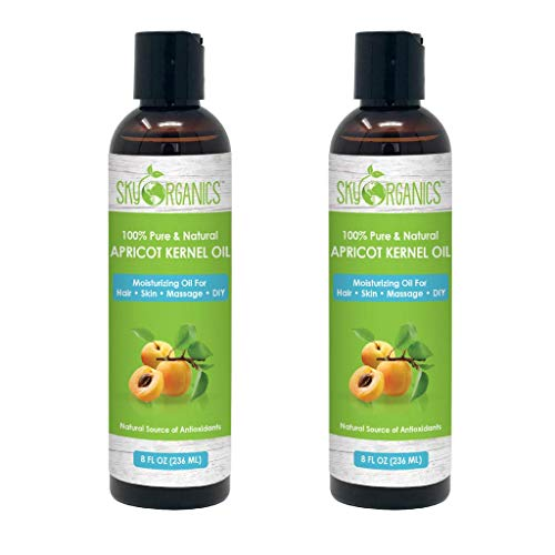 Sky Organics Apricot Kernel Oil - 100% Pure, Natural & Cold-Pressed Apricot Oil - Ideal for Massage, Cooking and Aromatherapy- Rich in Vitamin A - 8 oz (Pack of 2)