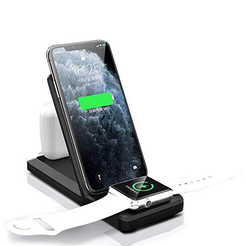 Kabelloses Ladegerät,3 in 1 Wireless Charger Qi-zertifizierte 15W Schnellladestation für iWatch 5/4/3/2/1,AirPods/AirPodsPro,Qi-Ladestation Ständer für Phone 11 Pro Max Xs X Xr 8 8 Plus,Samsung