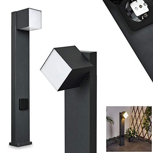 LED Außenwegeleuchte Swanek, Wegebeleuchtung aus Metall in schwarz u. weißen Kunststoff, 1 x LED 12 Watt, Leuchtenschirm ist um 350° drehbar, Außenlampe mit Steckdose, 3000 Kelvin, 600 Lumen