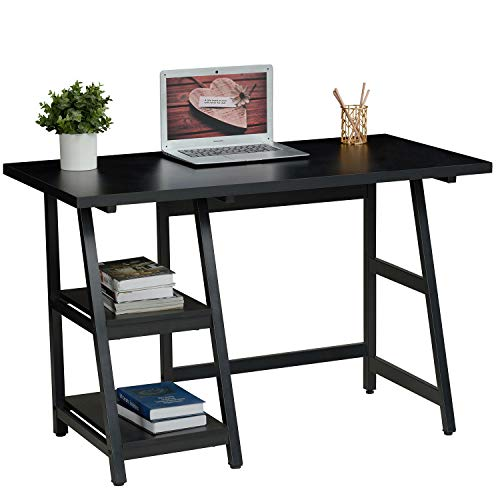 Sedeta Student Desks for Teens Bedroom, Small Black Computer Desk for Small Space, Study Table Writing Desk with Storage Shelves, 43.3 Inch Simple Trestle Desk for Home Office