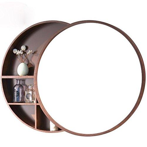 ChenCheng Nogal de Madera Maciza/Color de Madera montado en la Pared con estantes Acabado de Grano de Madera Crudo Pulido para Todas Las Ocasiones Espejos Decorativos estereoscópicos Espejos de vani