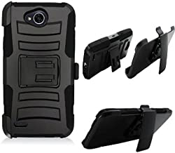Phone Case for Straight Talk Fiesta L64vL 63BL, Tracfone Fiest-2 L163B, (Simple Mobile) X-Power-2 LTE, X-Charge, LV7 Rugged Cover Kickstand Combo Holster Belt Clip(Hoslster Black Edge Cover Kickstand)
