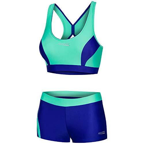 Aqua Speed Damen Bikini Set | Bustier Schwimmbikini für Mädchen | Womens Swimwear | Zweiteilige Badebekleidung | Two Piece Swimsuit | Swimming Pool | Gr. 34, 48 Mintgrün - Royalblau | Fiona