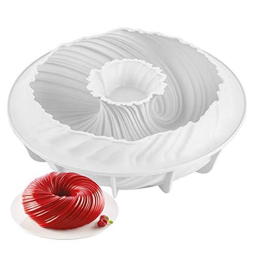 NALCY Stampo Ciambella Silicone, Stampo per torta in silicone a spirale, Tortiera Silicone, torta in silicone antiaderente scanalato, Stampo per ciambelle, Stampo per torta mousse
