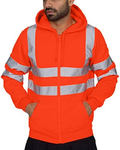 Sweat-Shirt à Capuche à Manches Longues pour Homme Travail Réfléchissants Veste Vélo Visibilité De Sécurité (Orange, M)