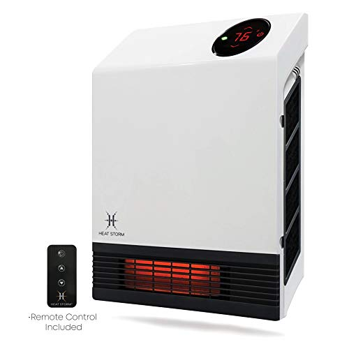 Heat Storm Deluxe Mounted Space Infrared Wall Heater, White Heater Infrared Space