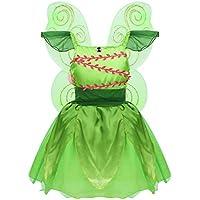 Agoky Disfraz de Hada Campanilla para Niña Cosplay Elfo Princesa Vestido Fantasía con Alas de Mariposa Dress Up Fiesta Cumpleaños Halloween Navidad Verde 4-6 Años