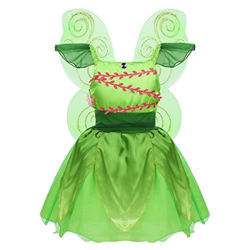 Agoky Disfraz de Hada Campanilla para Niña Cosplay Elfo Princesa Vestido Fantasía con Alas de Mariposa Dress Up Fiesta Cumpleaños Halloween Navidad