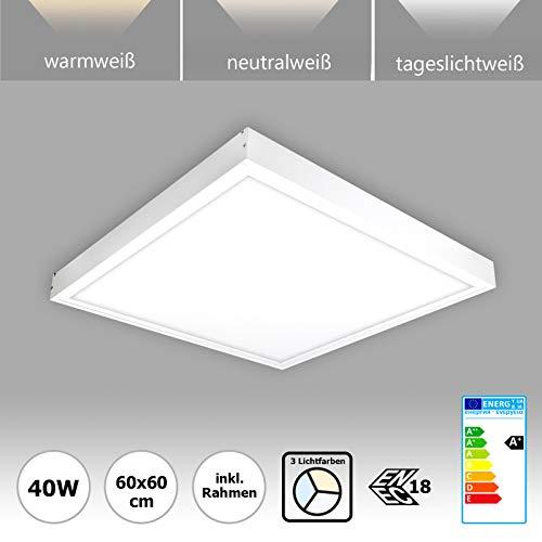 LED Panel 60x60 mit Rahmen 40W LED Deckenleuchte PMMA Lichtfarbe umschaltbar warmweiß neutralweiß tageslichtweiß kaltweiß nicht dimmbar Serie PLs3.0