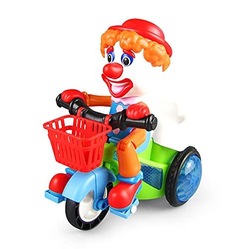 ZDYHBFE Triciclo eléctrico de Payaso de Dibujos Animados, música Ligera, Coche de Acrobacias, Coche de Juguete para niños, Regalos para niños de 0-3-6 años, Regalo para el día de los niños, Girar 360
