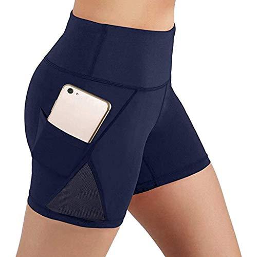 YEBIRAL Sport Damen Leggings, Kurze Sporthose Mesh Yoga Hose Laufhose, Blickdicht Fitness Yogahose High Waist Leggins Workout Shorts Fitnesshose mit Taschen