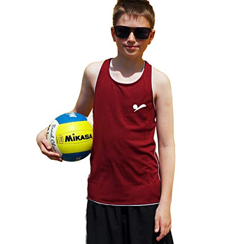 Beach Volleyball Apparel 158/164 Kinder Beachvolleyball Shirt Trikot Sport Tank Top TT100 (Dunkelrot)
