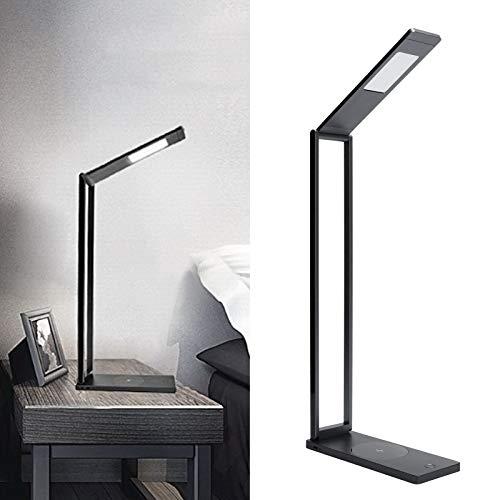 Lámpara de lectura, duradera, carga inalámbrica, plegable, luz, plegable, ajustable, lámpara de mesa, interruptor táctil para estudio, estudiante, dormitorio