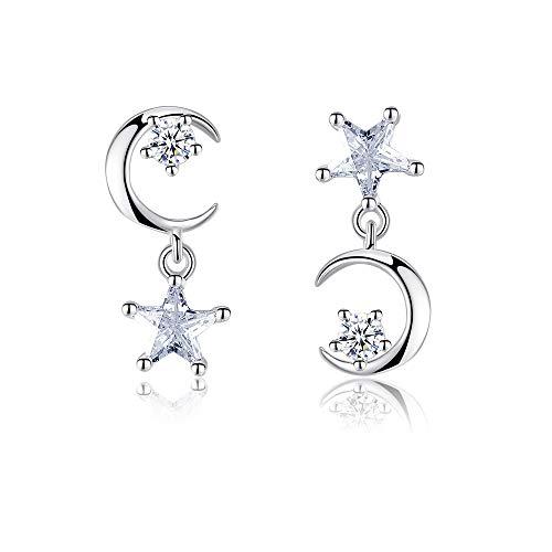 925 Sterling Silver Moon Star Drop Earrings Crystal Jewellery Dangle Earrings For Women