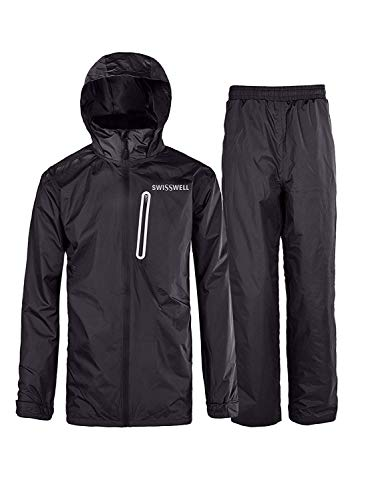 SWISSWELL Mens Waterproof Rainsuit with Hood Black Large, Black-Suit, Size Large