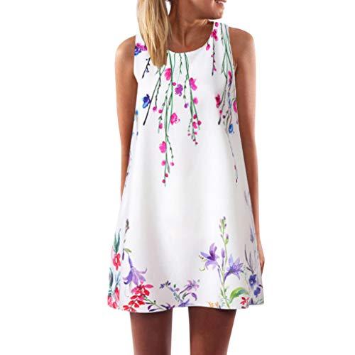 TUDUZ Damen Sommer Vintage Boho Ärmelloses Sommerstrand Rundhals Rock Partykleid Minikleid Blumenkleid T-Shirt Tops Kleider (XL, X2-Weiß)