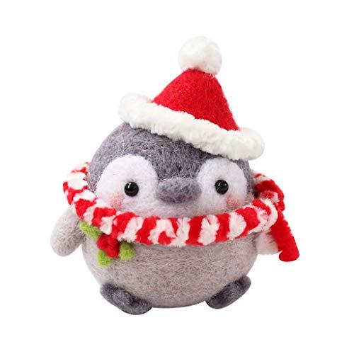 Muñeca de felpa no acabada hecha a mano Animal Pet Doll Toy Wool Needle Fieltro Kit de fieltro para perro gato Pingüino Decoración Regalo de cumpleaños (Color: K)