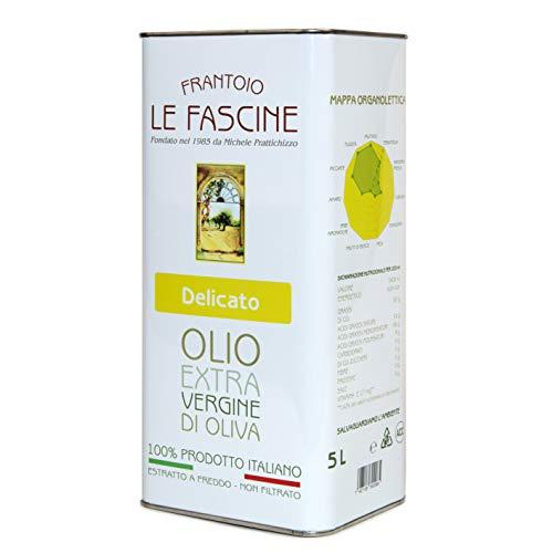 Le Fascine Delicato - Olio Extravergine Di Oliva Pugliese DELICATO 100 % Italiano Estratto A Freddo 100% Prodotto Da Olive Provenzali Ogliarola e Leccino (Latta da 5 Litri)