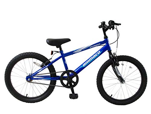 Ammaco Typhoon 20' Wheel Single Speed Boys Kids Mountain Bike Blue White Age 7+