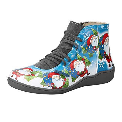 Yowablo Kunstleder Stiefeletten Herbst Vintage Schnürschuhe Damen Bequeme Flache Fersenstiefel Reißverschluss Kurzer Boot Geeignet für Weihnachten (40 EU,5- Grau)