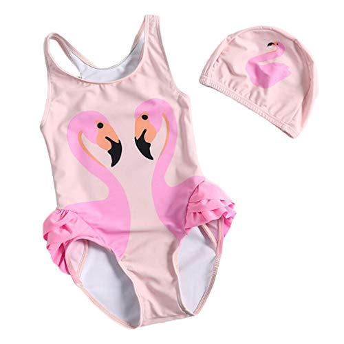 2 Pezzi Costume da Bagno Bimba Fenicotteri Stampa Costume Intero e Cuffia da Nuoto per Bambina Ragazza