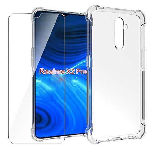 HYMY Hülle für Realme X2 Pro Smartphone + 1 x Schutzfolie Panzerglas -Transparent Erdbebenresistenz Schutzhülle TPU Handytasche Tasche Verstärkung an Vier Ecken Hülle für Realme X2 Pro