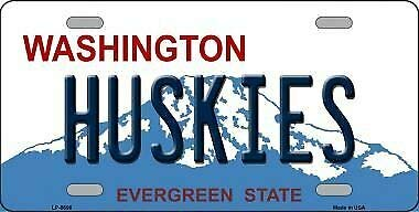 TNND Huskies Washington Background Novelty Metal License Plate License plate sign 6x12 inches