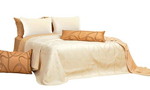 Sei Design® Luxus Bettüberwurf-Set EMPRESS original SeiDesign Tagesdecke 240x260 inkl. 2 Kissenbezüge 50x70 - champagner - in vielen Farben wählbar