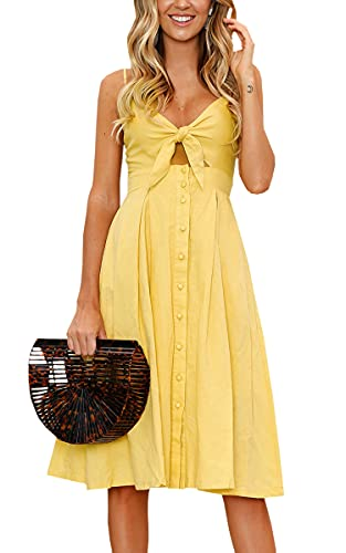 ECOWISH Womens Dresses Summer Tie Front V-Neck Spaghetti Strap Button Down A-Line Backless Swing Midi Dress Yellow L