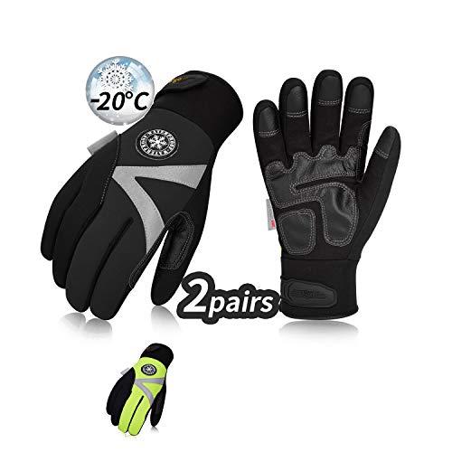 Vgo 2 paar meer dan -15℃, fleece van 3M Thinsulate C40, winterhandschoenen voor buiten en werk, wind- en waterdicht, uiteinde, vriezer (8/M, zwart + groen, SL8777FW)