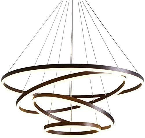 LED 127W Hängeleuchte Dimmbar Fernbedienung Pendelleuchte Brown Aluminium Deckenlampe Runde 4-Ring Höhenverstellbar kronleuchter Innen Galerie Wendeltreppe Esszimmer Esstisch (Brown 20+40+60+80CM)
