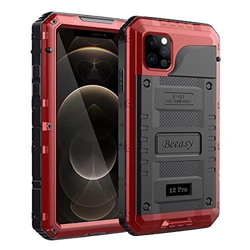 Beeasy Funda para iPhone 12 Pro Impermeable,Antigolpes con Protector de Pantalla,360°Protección Rígida Robusta Antigravedad Carcasa Resistente al Impacto Militar Duradera Blindada Fuerte, Rojo