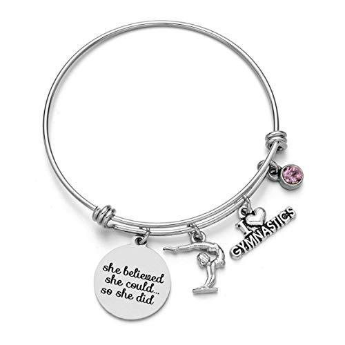 Gymnastics Charms Bracelets - Sports Bangle with Birthstone Birthday Gift for Gymnast
