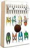 Superhéroe Kalimba 10 teclas Pulgar Piano Hero Máscara Mujer Hombre Disfraz Poder Justicia Personas Iconos de moda Pantalla para niños Mbira portátil Piano de dedo Regalo para niños Adultos Principia
