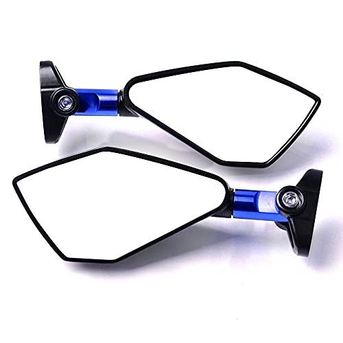 2 unids Universal Aluminio Motocicleta Macho Moto Retroview Later Lateral Azul Espejo de Cristal Ajuste para CBR929RR CBR954RR CB1000R CBR 1000 929 954 RR (Color : Blue)