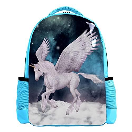YATELI Mochila ligera para la escuela,Pegasus nebulosa galaxia , Mochila informal clásica básica resistente al agua para viajes con bolsillos laterales para botellas