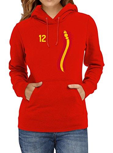 Spanien Weltmeisterschaft 2018#33 Premium Hoodie Fan Trikot Fußball WM Nationalmannschaft Frauen Kapuzenpullover, Farbe:Rot;Größe:M