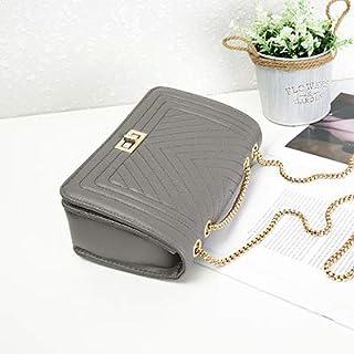Adebie - Fashion New V Pattern Women Handbag Chain Female Brand Design Shoulder Crossbody Bag Simple PU Leather Brand Lady Messenger Bag Gray []
