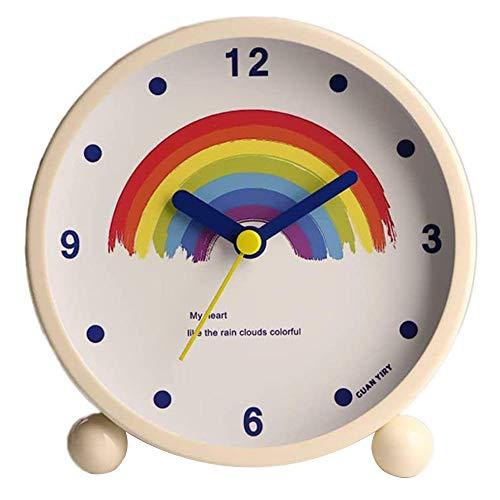 La Haute Wecker, rund, geräuschlos, tickt nicht auf dem Nachttisch/Schreibtisch, Wecker, batteriebetrieben, Reise-Uhr mit Nachtlicht Z-Regenbogen