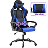 PC Gaming Chair Massage Office Chair Adjustable Desk Chair High Back PU Leather Executive Rolling Racing Computer Chair with Lumbar Support Headrest Armrest Swivel Task Chair(Blue)