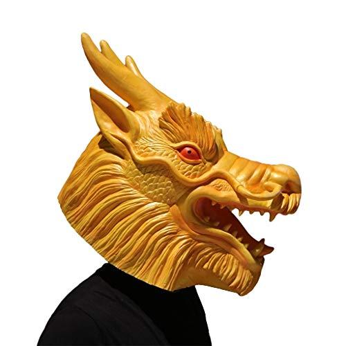 GXDHOME Máscara de látex con Cabeza de Animal, Los Doce zodiacos: Dragón Chino Disfraz de Halloween Terror Mascarada Espeluznante Disfraces Disfraz