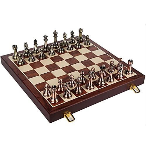 Nuevo chessex Juego De Adultos De Ajedrez De Metal Grande 20x20in Plegable Tablero De Ajedrez De Madera Pintura/Metal Piezas De Ajedrez Regalo de ajedrez (Color : Big Chess Set C)