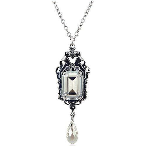 nobel-schmuck Jugendstil Kette mit Kristallen von Swarovski® Silber Silver Shade