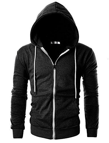 OHOO Mens Slim Fit Long Sleeve Lightweight Zip-up Hoodie with Kanga Pocket/DCF002-CHARCOAL-XL