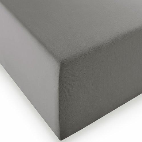 sleepling Komfort Jersey-Elastic Stretch Spannbettuch Spannbettlaken für Matratzen bis 30 cm Höhe (215 gr. / m²) mit 3{334b474a9fc874000c88babd7797860c4e9a408cb1feffba51d76c0c15aba385} Elastan 180 x 200-200 x 220 cm, grau