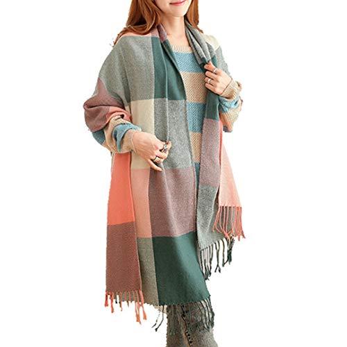 Miss Lulu Sciarpa Donna Inverno scialle Girl grandi Poncho Invernale Tartan Wrap per Donna (Verde)