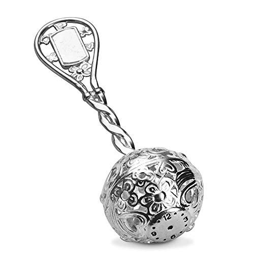 Baby Rassel mit Geburtsschild und Uhr für Geburtsstunde, Klang Silberrassel, ECHT MASSIV 925 Silber Taufgeschenk #2212 (Klangkugel ohne Gravur)